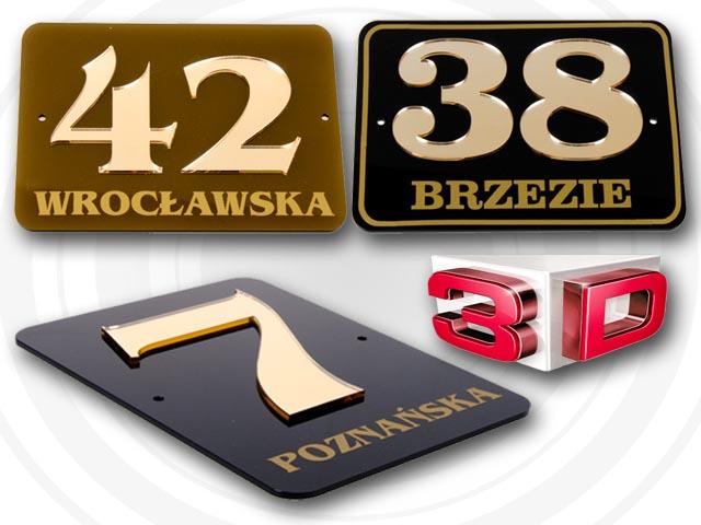 Super TABLICZKA ADRESOWA, TABLICA NUMER, NUMERY DOM 3D FORMAT 20x15 cm QR37
