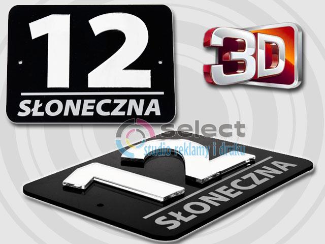 Modernistyczne TABLICZKA ADRESOWA, TABLICA NUMER, NUMERY DOM 3D 20x15 SREBRNE LUSTRO BM43